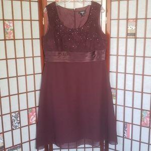 Burgundy wedding sleeveless high waist dress 16P